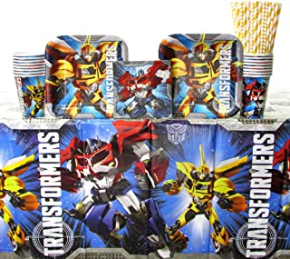 Transformers Party Supplies Pack for 16 Guests   Transformers Plates and Napkins Set   Straws, Dessert Plates, Beverage Napkins, Cups, and Table Cover   Optimus Prime and Bumblebee Birthday Party