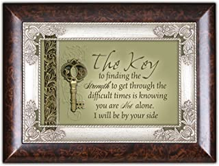 Cottage Garden The Key to Finding Strength Burlwood Jewelry Music Box Plays Wind Beneath My Wings