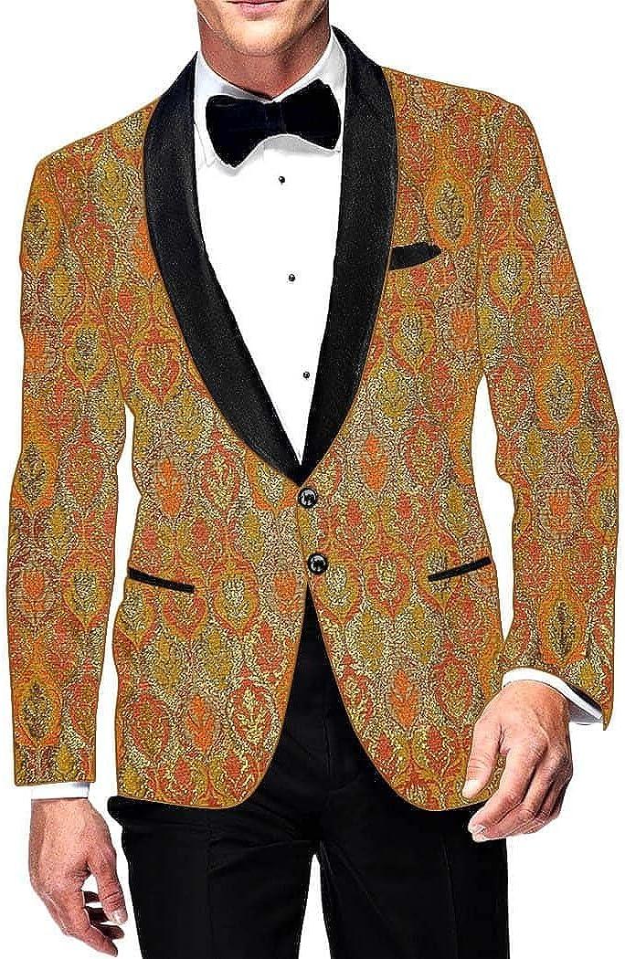 INMONARCH Mens Slim fit Casual Orange Blazer Sport Jacket Coat Kimkhab Two Button SB15039