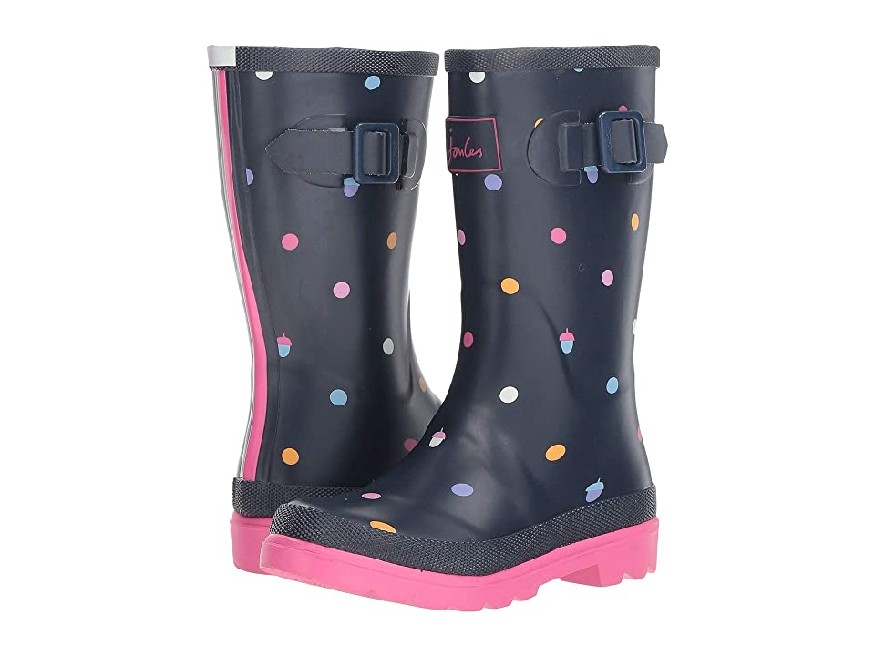 Joules Kids Printed Welly Rain Boot (Toddler/Little Kid/Big Kid) (Navy Acorn Dot) Girls Shoes