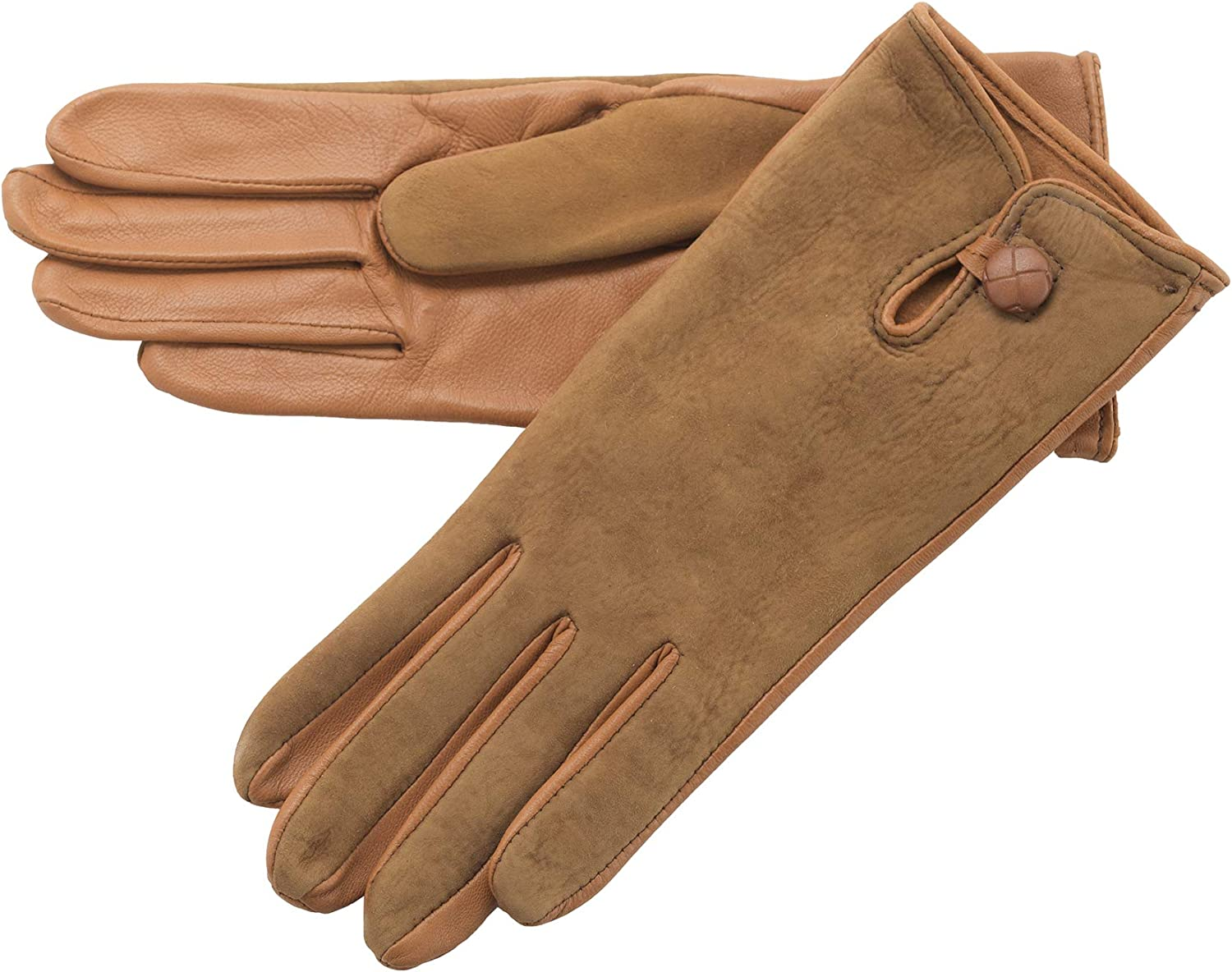 Lambland Ladies Leather Palm Lambskin Back Gloves in Tan Size Large