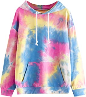 SweatyRocks Women's Long Sleeve Hoodie Sweatshirt Colorblock Tie Dye Print Pullover Shirt Blouse
