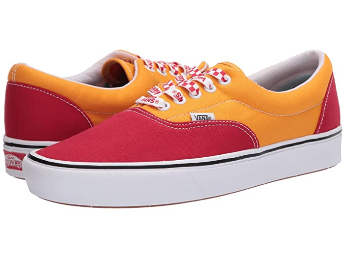 Mens Retro Shoes | Vintage Shoes & Boots Vans ComfyCush Era Lace Mix RedCadmium Yelliow Athletic Shoes $45.99 AT vintagedancer.com