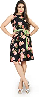 Dsk Studio Womens and Girls Crepe Western One Pieces Dresses_dfk003_Black