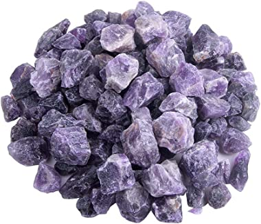 TGS Gems Raw Amethyst Natural Healing Crystal Stones 15-40mm Each, Large 2lb Bulk Lot – Rough Rock Crystals for Tumbling, Cab