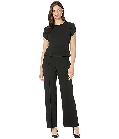 Donna Morgan Short Sleeve Peplum Crepe Jumpsuit (Black) Women