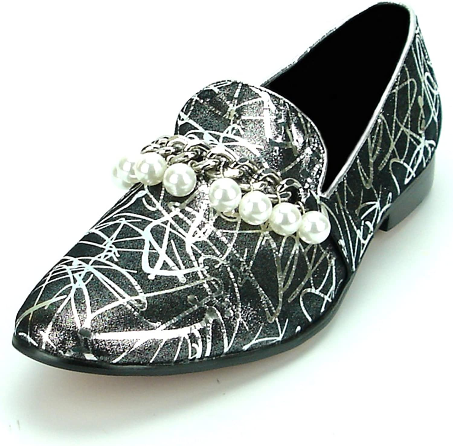 Fiesso by Aurelio Garcia FI-7215 Silver Leather Silver Chain with Pearls Slip on Loafer - European shoes Designs