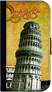 Vintage Leaning Tower of Pisa Design-Tuscany-Central Italy TM Leather and Suede Look Passport Cover with Double-Sided Design Made in the USA