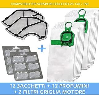 Vorwerk Folletto compatibile vk 140 12 sacchi 12 profumi tubo flessibile e acc