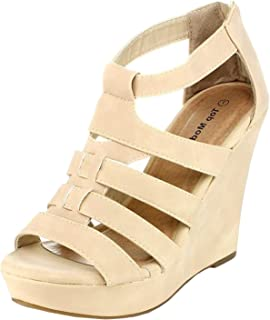 4db527bd383c Top Moda Womens Lindy-50 Strappy Open Toe Wedge Sandals