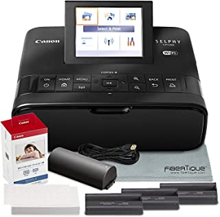 Canon SELPHY CP1300 Compact Photo Printer (Black) with WiFi and Accessory Bundle w Color Ink and Paper Set + Battery