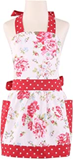 NEOVIVA Kids Aprons for Girls with Pockets, Durable Canvas Toddler Apron for Kids Cooking, Baking, BBQ and Gardening, Style Diana, Floral Lollipop Red