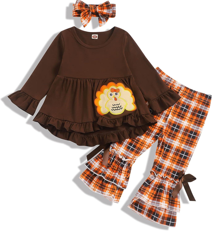 Gavol Toddler Baby Girl Thanksgiving Outfits Turkey Dress Top+Plaid Flares Pant Toddler Girl Thanksgiving Clothes Set
