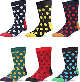 RioRiva Men's Dress Crew Socks For Suit Mid Calf -Cute Funky Colorful Novelty Style Classic Pattern Size 10 11 12 13 14 15 16