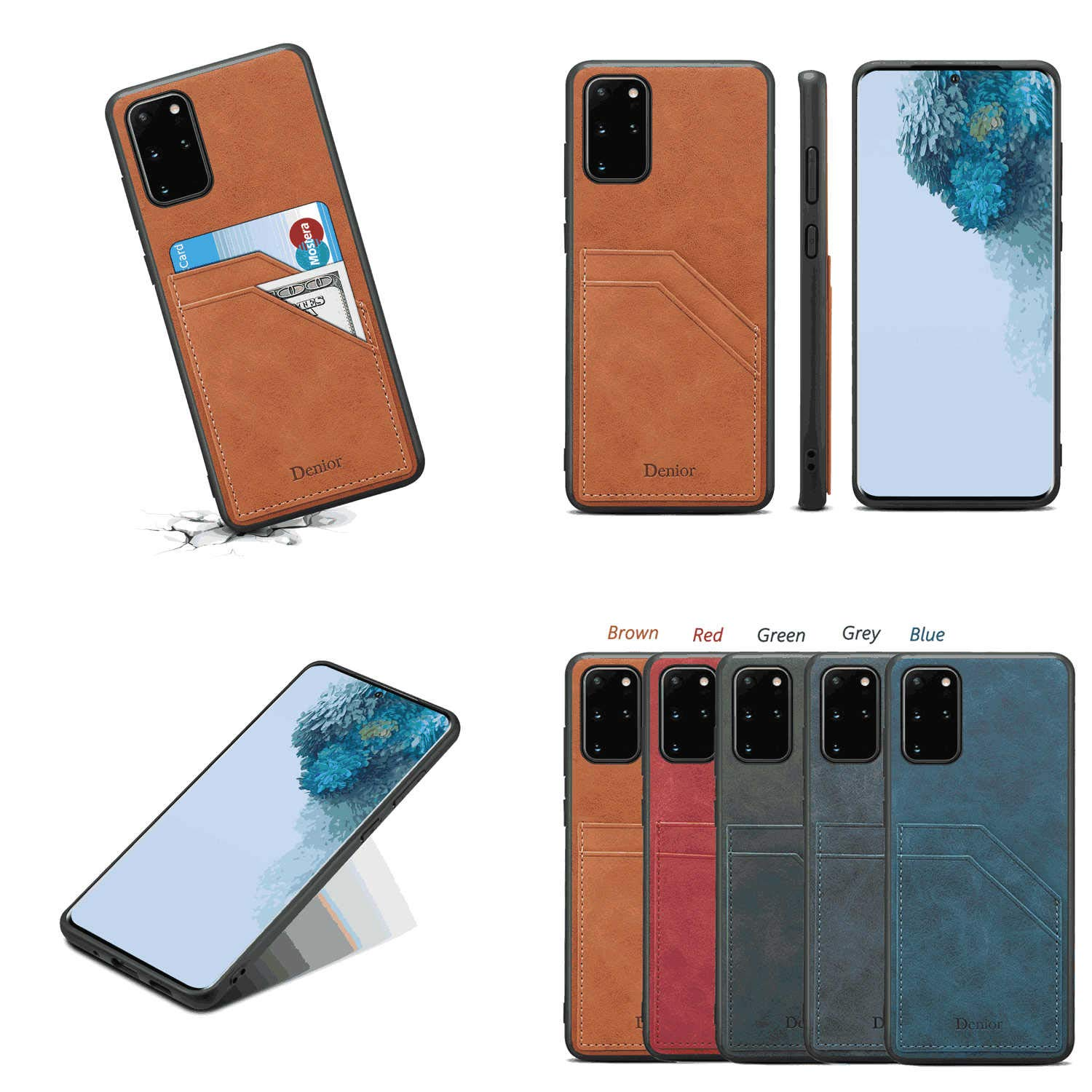 PU Leather Flip Cover Compatible with iPhone X Gray Wallet Case for iPhone X