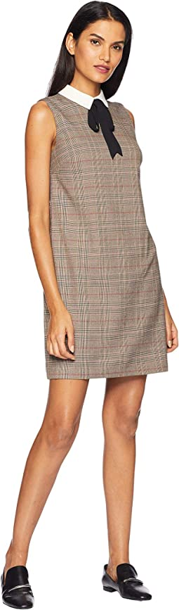 Long Sleeve Feminine Glen Plaid Collared Dress