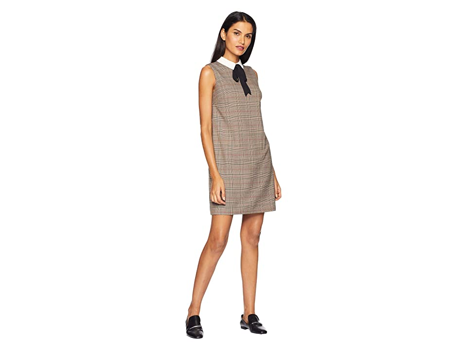 CeCe Long Sleeve Feminine Glen Plaid Collared Dress (Sesame) Women