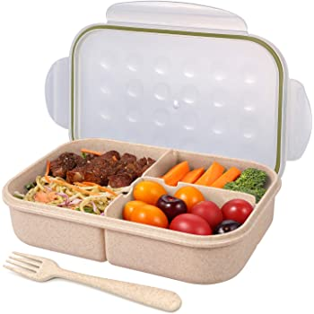 Bento Box for Adults Lunch Containers for Kids 3 Compartment Lunch Box Food Containers Leak Proof(Includes Flatware) (Transparent)