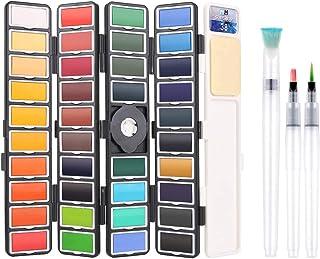 BBLIKE Set de Peinture Aquarelle - 38 Couleurs Boîte de Rangement de Ventilateur avec 3 Peinture à L'eau Brosse - Peinture...