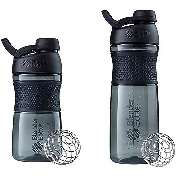 SCS Direct BlenderBottle SportMixer Shaker Bottle 20oz and 28oz, 2-Pack, Black, Colors May Vary