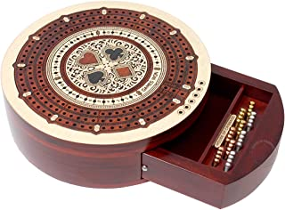 House of Cribbage - Round Shape 3 Track Non-Continuous Cribbage Board - Push Drawer Storage for Pegs and 1 Deck of Cards with Score Marking Fields for Won Games (Maple Wood / Bloodwood)