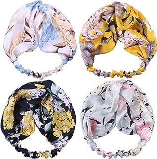 GUNIANG Boho Headbands for Women Floral Bandeau Elastic Hair Bands Criss Cross Twisted Head Wrap Accessories Hairband