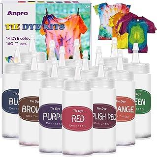 Anpro 160pcs DIY Teinture Textile 14 Couleurs * 100ml kit tie Dye,Teinture Tissus de Teinture permanente Non Toxique pour,...