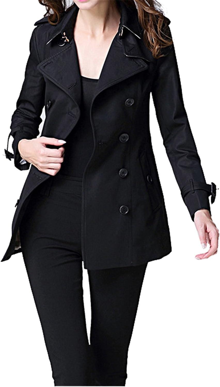 Allonly Women's Double Breasted Slim Fit Windbreaker Jacket Coat with Belt