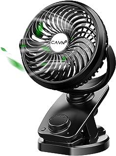 CAVN 5000mAh Leise Tischventilator Clip Fan, Mini USB Ventilator, Auto-Oszillierend, 360° Drehung Wiederaufladbarer Stufenloser Geschwindigkeit Lüfter für Auto Schlafzimmer Büro Kinderwagen Camping
