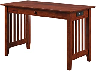 Atlantic Furniture Mission Desk with Drawer and Charging Station, Walnut