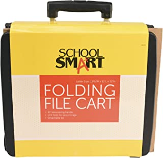 School Smart Letter Size Folding File Cart with Handle, 11 x 11 x 12-7/8 Inches - 086295
