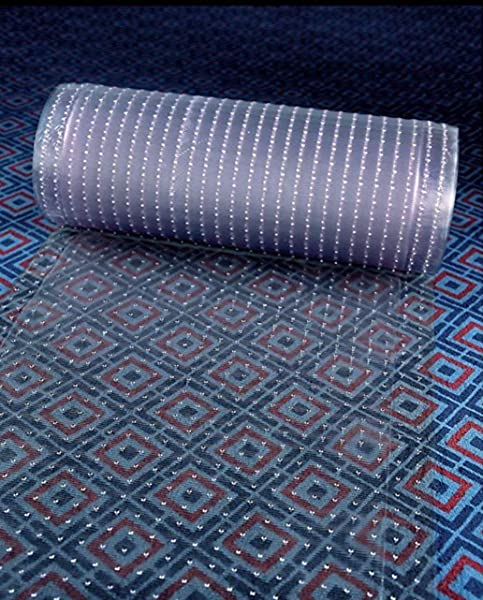 Clear Plastic Runner Rug Carpet Protector Mat Ribbed Multi Grip 24 In X 26 In
