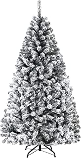 Goplus Artificial Christmas Tree, Snow Flocked Hinged Pine Tree, Premium PVC Needles/Solid Metal Stand, Xmas Full Tree for Indoor and Outdoor (6FT)