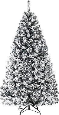 Goplus 6FT Snow Flocked Christmas Tree, Hinged Pine Tree, Artificial Premium PVC Needles/ Solid Metal Stand, Xmas Full Tree f