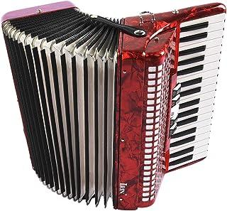 Accordéon Piano, 34 Touches D'entrée de Gamme Clavier Main Peau de Mouton éducatif 48 Basse Accordéon Instrument de Musiqu...