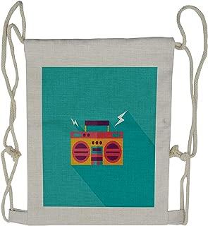 Lunarable Music Drawstring Backpack, Ghetto Blaster Audio, Sackpack Bag