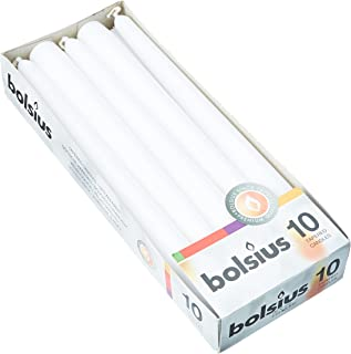 Bolsius Tapered Dinner Candles, White Box, Pack of 10
