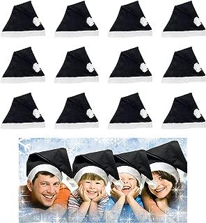 12 Black White Santa Hats Bulk Adult Kids Great Christmas Hat For The Holidays Bulk Wholesale