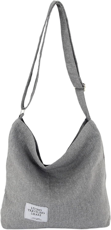 STEAMEDBUN Crossbody Hobo Bags for Women Canvas Tote Satchel Purse Long Strap