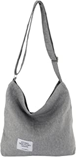 Womens Canvas Crossbody Hobo Bag Large Tote Messenger Shoulder Purse with Zipper Casual Work Travel Bags