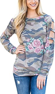 Camouflage Rose Floral Long Sleeve T-Shirts Women Cut Out Shoulder O-Neck Tops