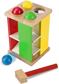 Melissa & Doug 3559 Deluxe Pound and Roll Wooden Tower Toy With Hammer,White