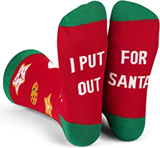 Lavley Funny Christmas Socks - Unisex Novelty Crew Socks for Men and Women (Gnome, Put Out, Jolly AF, It`s Lit)
