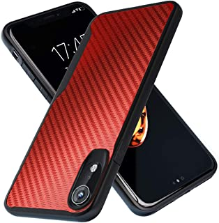 Kitoo iPhone XR Case   10ft. Drop Tested   Carbon Case   Ultra Slim   Lightweight   Scratch Resistant   Wireless Charging   Compatible with Apple iPhone XR - Red