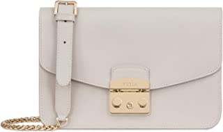 Metropolis Ladies Small White Perla Leather Shoulder Bag 978672