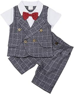 DAIMIDY Baby Boys Summer Cotton Gentlemen Suit, 12 Month - 4 Years