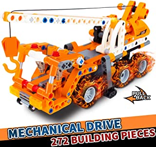 Gili Building Toy (C52013W), Build A Pull Back Crane Car, Best Christmas Birthday Gifts for Age 6, 7, 8, 9, 10, 11, 12 Year Old Boys & Girls, Stem Technic Construction Engineering Truck for Kids