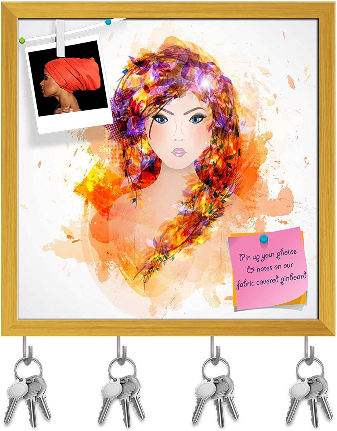 Artzfolio Abstract Woman with Abstract Hair D2 Key Holder Hooks   Notice Pin Board   golden Frame 16 X 16Inch