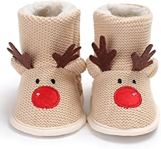 Sanwooden Comfortable and Cute Baby Shoes Cute Elk Style Newborn Baby Infant Warm Soft Anti-Slip Linen Crib Shoes Boot Baby Clothing Accessories