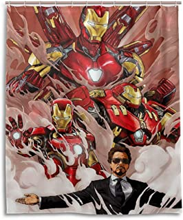 Olicsley Iron Man Shower Curtain Liner Waterproof Polyester Fabric Bathroom Shower Curtain Fabric Shower Curtain 12 Hooks 60 x 72 inches